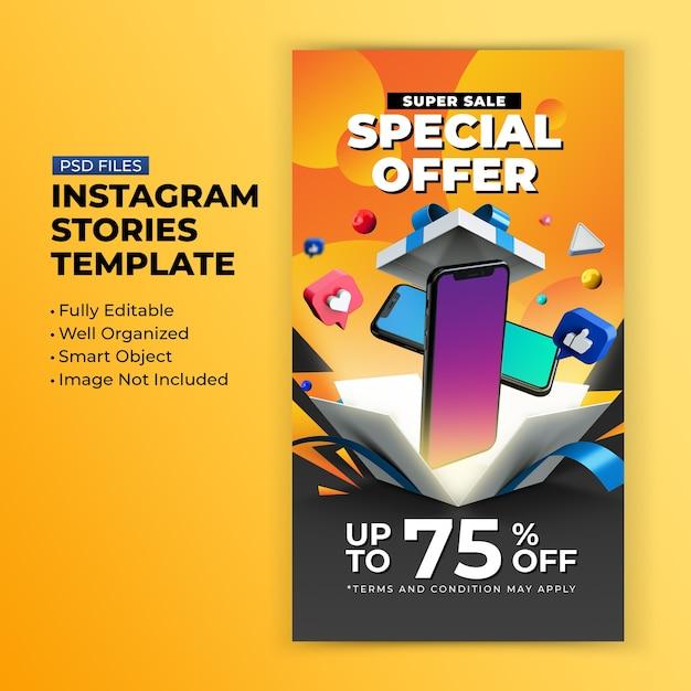Promozione dell'offerta speciale di vendita eccellente per il modello di progettazione di storie di post di instagram Psd Premium