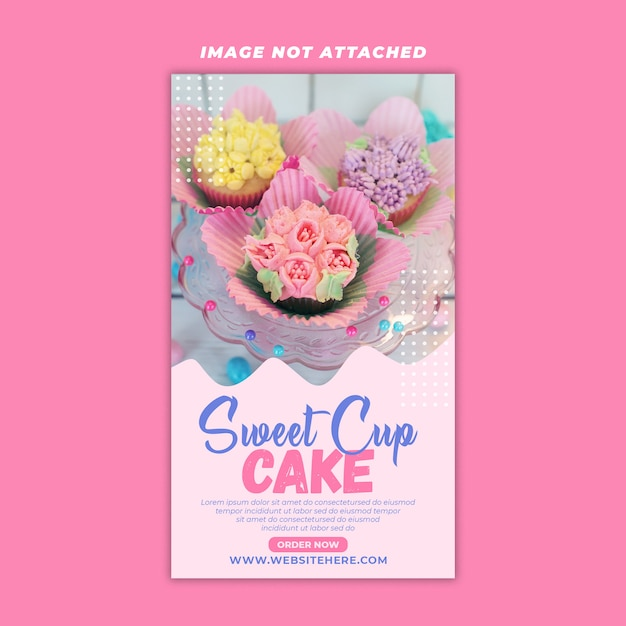 Dolce cup cake story design Psd Premium