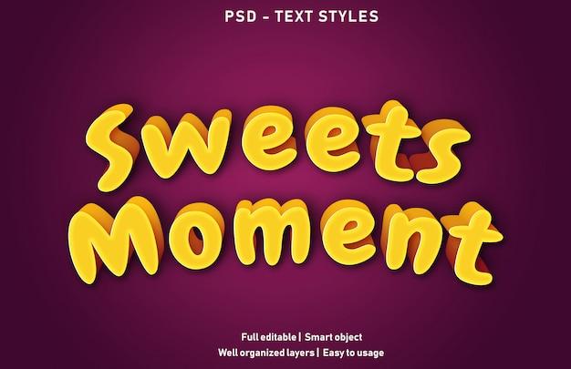 Premium di effetti di testo momento di dolci modificabili Psd Premium