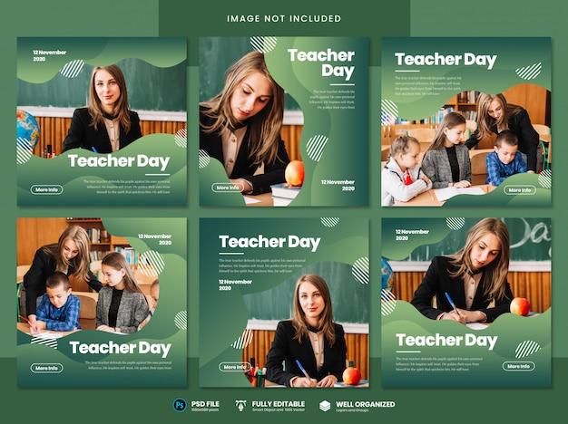 Modello di social media per la giornata dell'insegnante Psd Premium