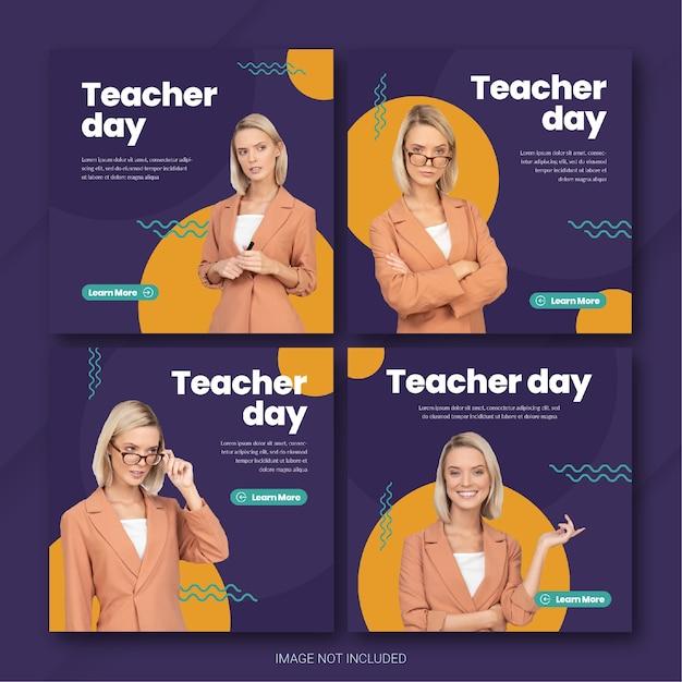 Modello di bundle post instagram di teachers day Psd Premium