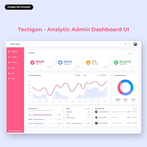 Interfaccia utente del dashboard di amministrazione di tectigon-analytic Psd Premium