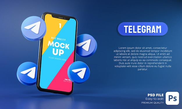 Icone di telegram in giro per smartphone app mockup 3d Psd Premium