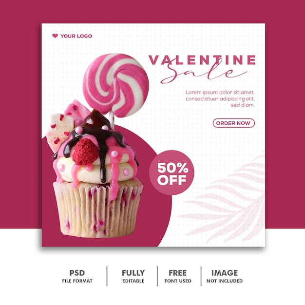 Modello instagram post food candy valentine Psd Premium