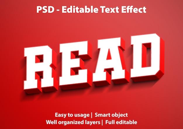 Modello di lettura effetto testo Psd Premium