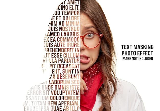 Mockup di effetto foto di mascheramento del testo Psd Premium
