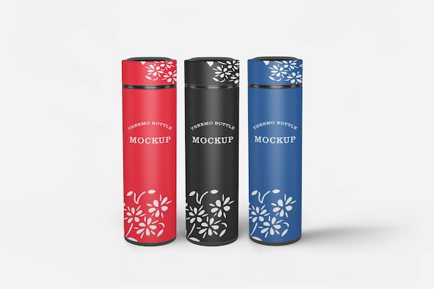 Mockup di bottiglia d'acqua thermos isolato Psd Premium