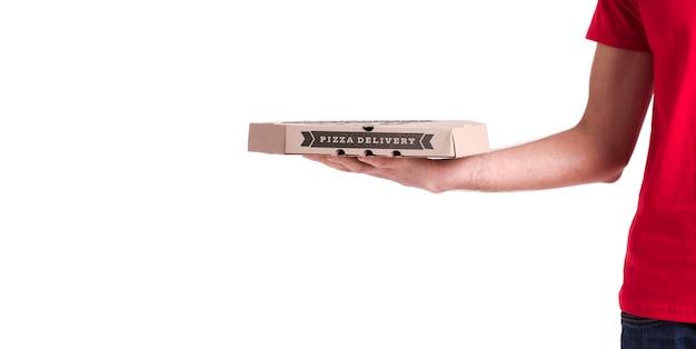 Scatola per la consegna della pizza sottile con spazio di copia Psd Premium
