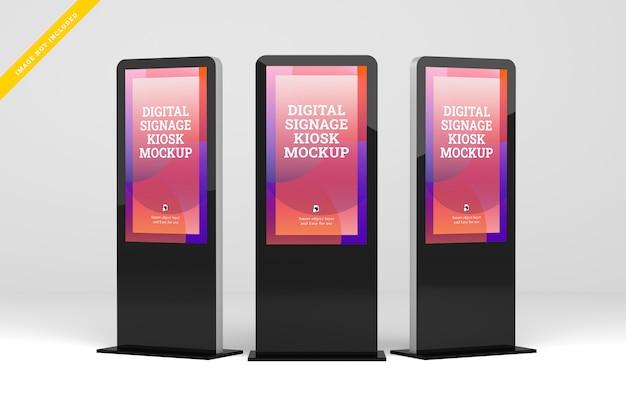 Tre segnaletica digitale con display mockup. Psd Premium