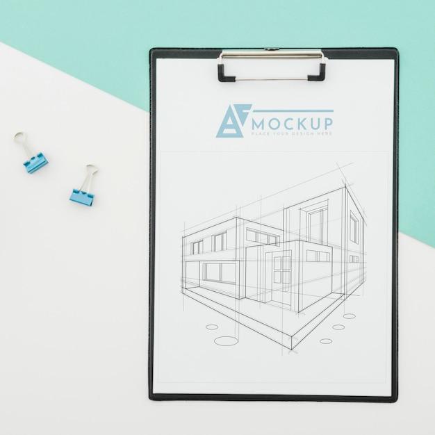 Design dell'architettura vista dall'alto con mock-up Psd Premium