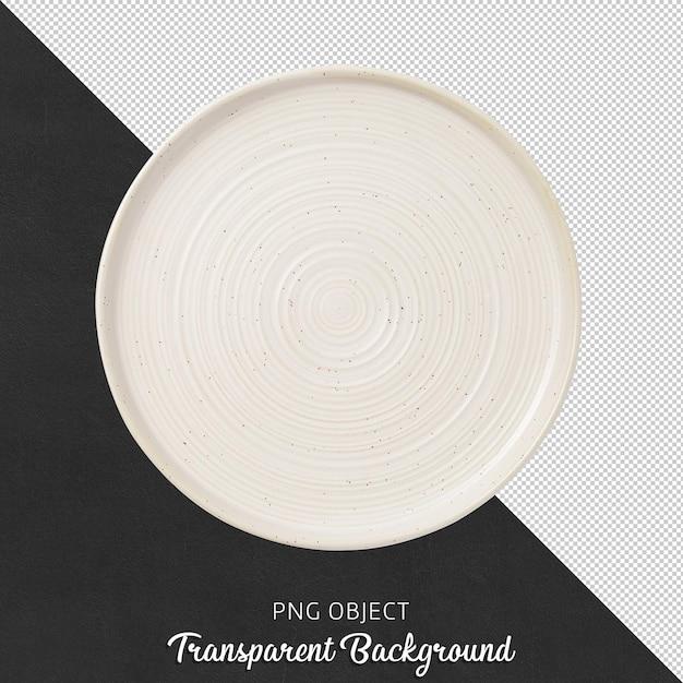 Vista dall'alto del piatto rotondo bianco isolato Psd Premium
