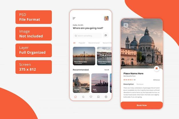 Design dell'interfaccia utente dell'app mobile di viaggio Psd Premium