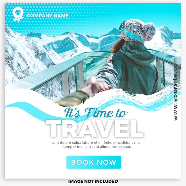 Viaggi e tour post sui social media per il marketing digitale Psd Premium