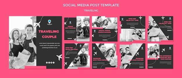 Modello di post di social media concetto di viaggio Psd Premium