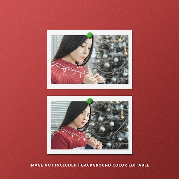 Twin landscape paper frame photo mockup per natale Psd Premium