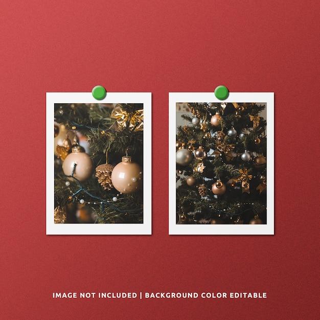 Mockup di foto con cornice di carta doppia per ritratto per natale Psd Premium