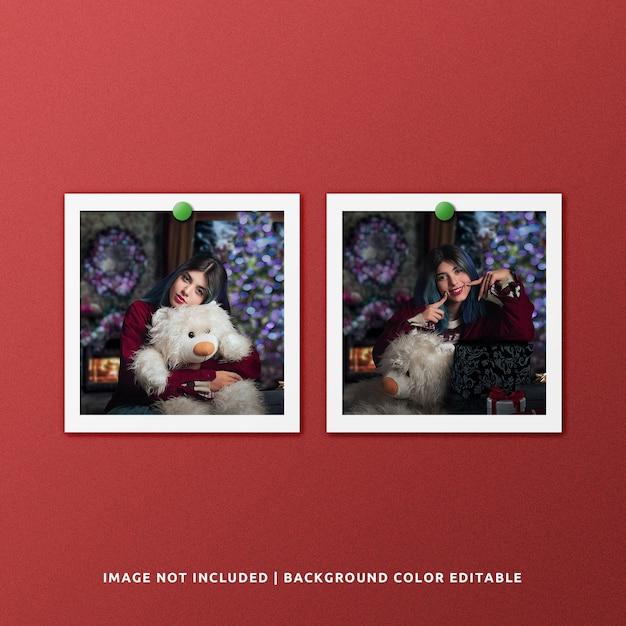 Twin square paper frame photo mockup per natale Psd Premium