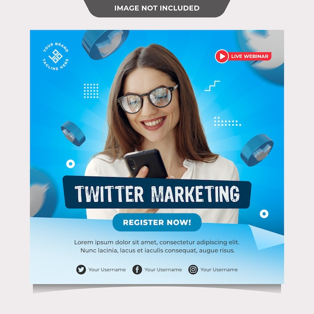 Modello di social media di marketing di twitter Psd Premium