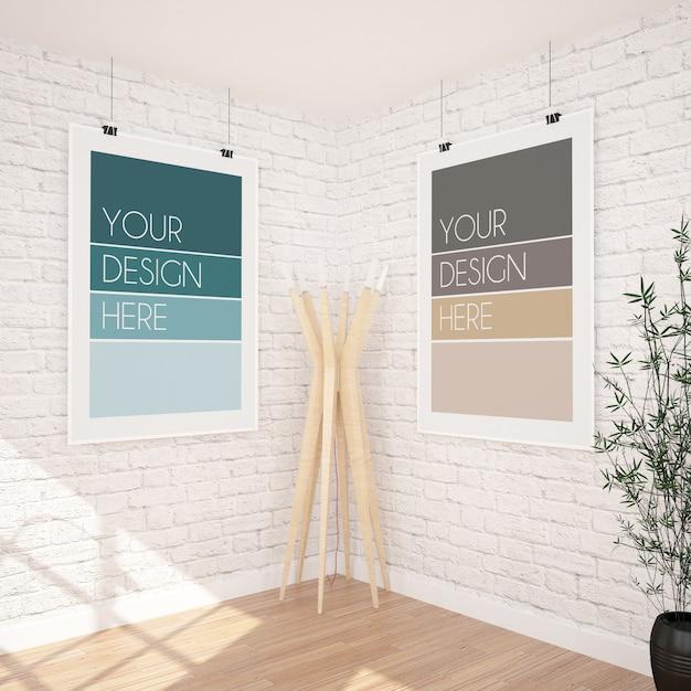 Due poster verticali appesi mockup in interni moderni Psd Premium