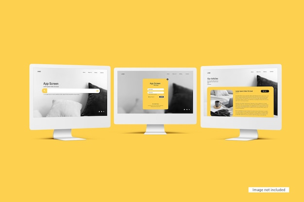 Mockup dello schermo del desktop unicolor Psd Premium