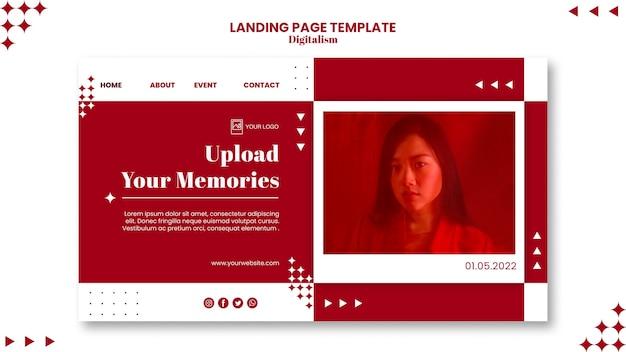 Carica la pagina di destinazione dei tuoi ricordi Psd Premium