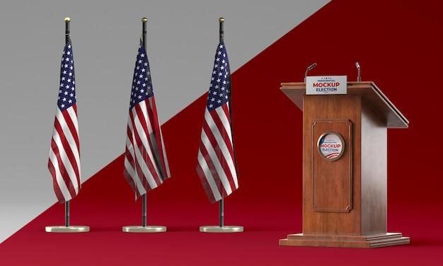 Mock-up del concetto di elezioni americane Psd Premium