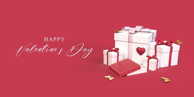 Mockup di san valentino con confezione regalo, farfalla, simbolo del cuore Psd Premium
