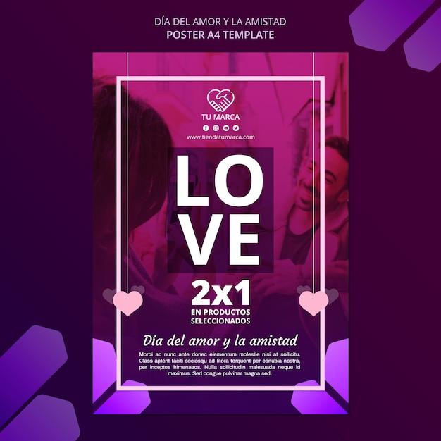 Modello di cancelleria poster di san valentino Psd Premium