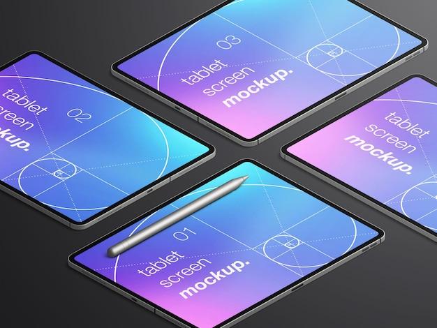 Varietà di mockup di schermi di dispositivi tablet isometrici realistici con matita stilo Psd Premium