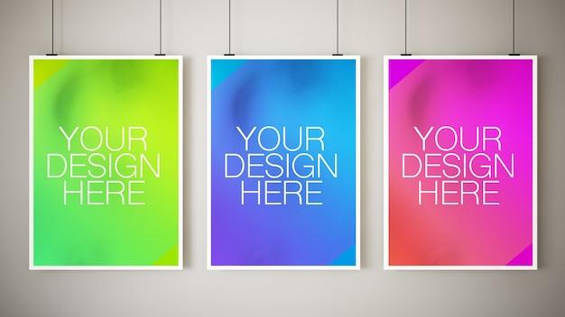 Vari mockup di poster appesi Psd Premium