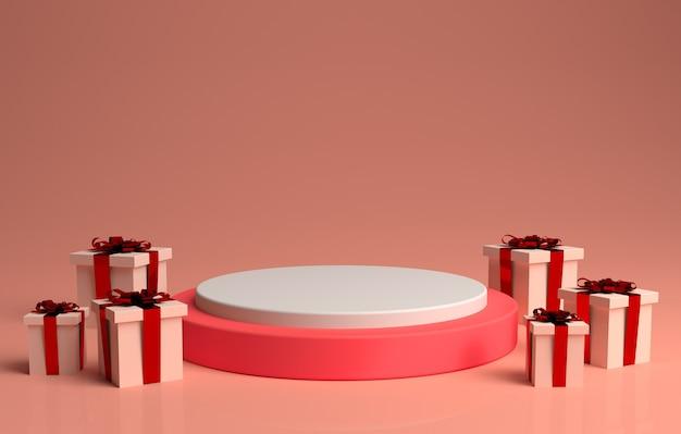 Varie altezze di podio e regali nella rappresentazione 3d Psd Premium
