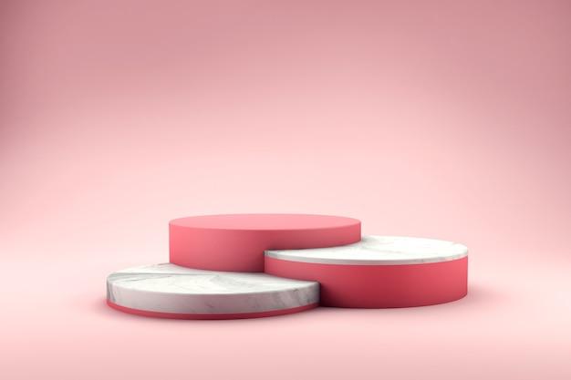 Varie altezze del podio con rendering 3d texture marmo Psd Premium