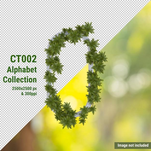 Alfabeto verticale di cocco e foglie verdi e bianche Psd Premium