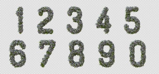 Alfabeto verticale dell'albero del giardino e delle foglie verdi, lettera 0-9 Psd Premium