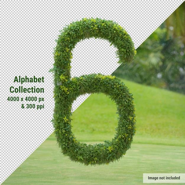 Alfabeto verticale dell'albero da giardino e delle foglie verdi, lettera 6 Psd Premium