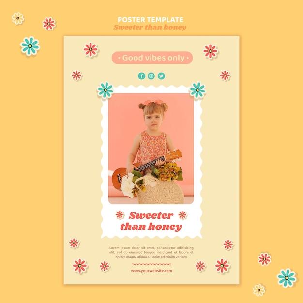 Modello di poster verticale per bambini con fiori Psd Premium