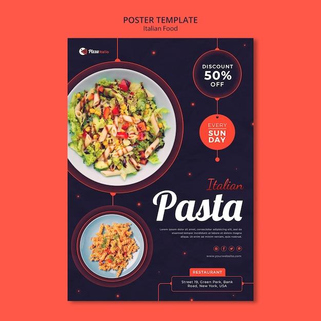 Modello di poster verticale per ristorante di cucina italiana Psd Premium