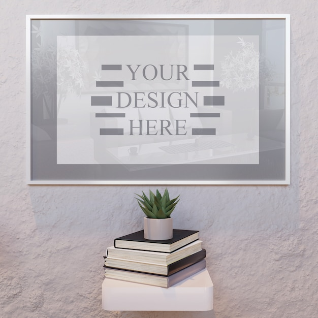Mockup verticale cornice bianca sul muro con libri sulla scrivania Psd Premium