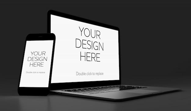 Vista di un mockup di smartphone e laptop Psd Premium