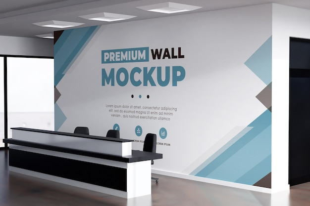 Muro logo mockup sfondo realistico ufficio bianco Psd Premium
