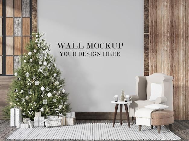 Mockup da parete per interni scandinavi della vigilia di natale Psd Premium