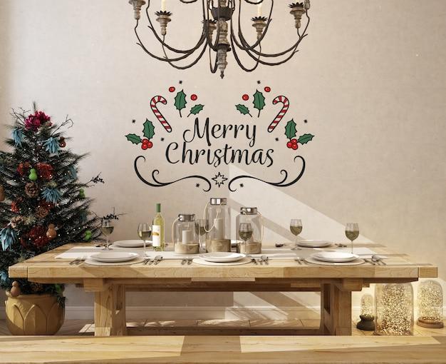 Mockup di parete nella sala da pranzo con albero di natale Psd Premium