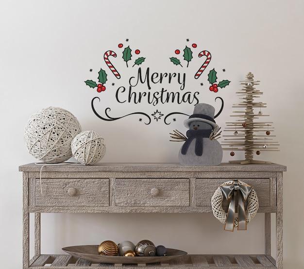 Mockup da parete in interni vintage con albero di natale e decorazioni Psd Premium