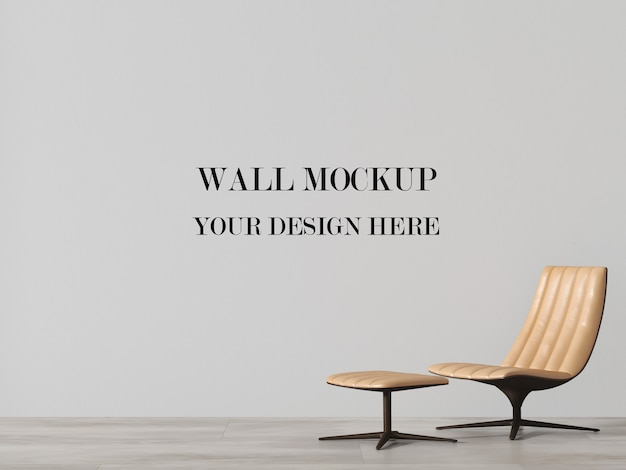 Mockup da parete con moderno shezlong in pelle beige Psd Premium