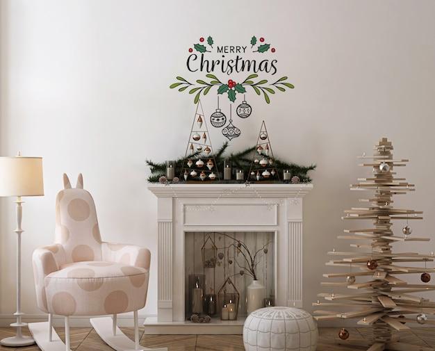 Mockup da parete con albero di natale in legno, decorazione e regalo Psd Premium