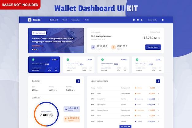 Kit interfaccia utente dashboard gestione portafoglio Psd Premium