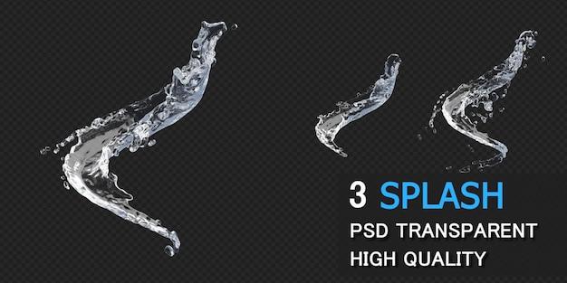 Spruzzi d'acqua con goccioline nel rendering 3d isolato Psd Premium