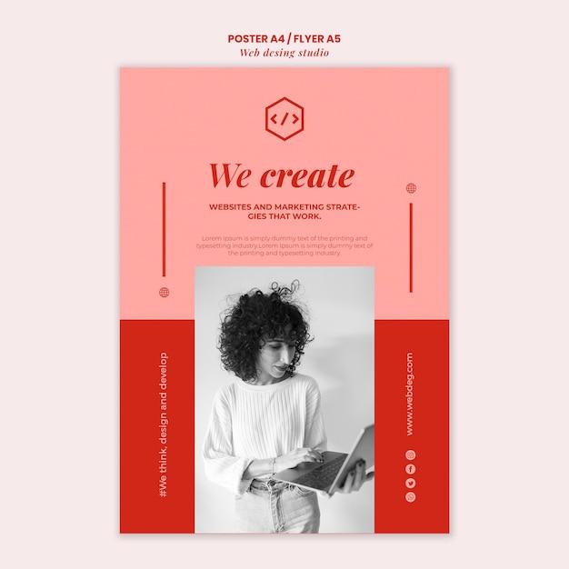 Modello di volantino di progettazione di studio web Psd Premium
