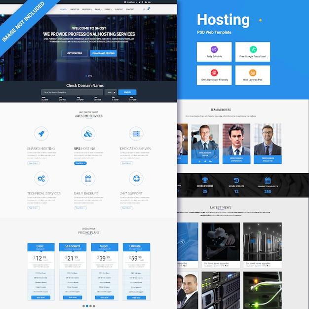Modello di webhosting Psd Premium