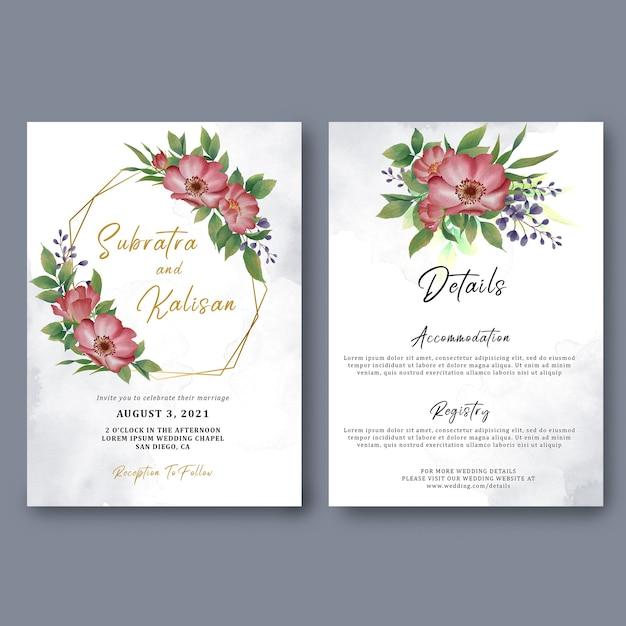 Modello di carta di invito a nozze e dettagli della carta con decorazioni floreali ad acquerello Psd Premium
